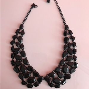 Kate spade black gem choker collar bib necklace