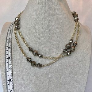 Silver beaded necklace, Opera Length