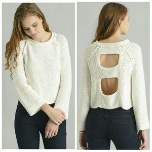 Free People Women Knit Sweater Back Cutout Ivory S