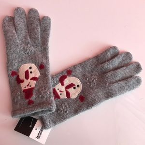 Moschino cashmere holiday snowman gloves