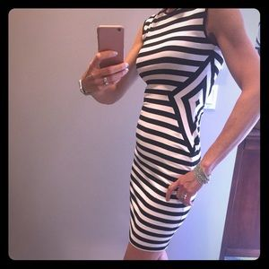 Cache black and white stripe dress