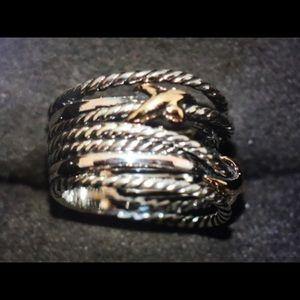 David Yurman Silver/18k Gold Crossover Ring