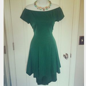 Dark Green Off The Shoulder A-line High Low Dress