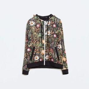 Zara Cactus Floral Print Bomber Sweatshirt