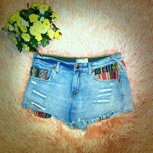 Free People Boho Chic Embroidered Denim Shorts