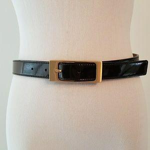 Ann Taylor Dark Brown Burgundy Patent Leather Belt