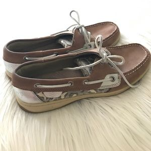 Sperry Top Sider Silver Leopard Leather Boat Shoes