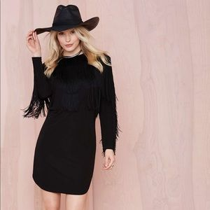 Nasty Gal black fringe dress