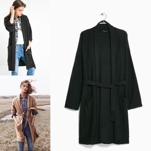 Mango Small Wool-blend belted long cardigan coat