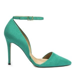 JustFab Monroe Pointed Toe Suede Heels in Emerald
