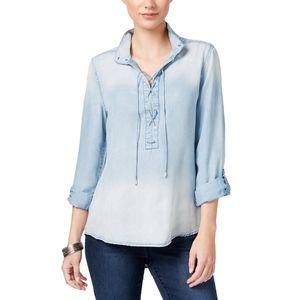 Vintage America Dahlia Lyocell Lace-Up Denim Shirt