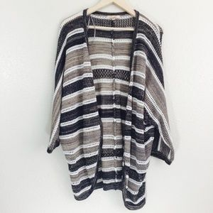 Skies Are Blue Striped Open Front Cardigan
