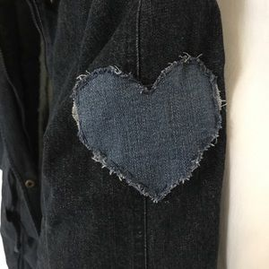 NWT Denim Winter Jacket with Hood and Heart Patch