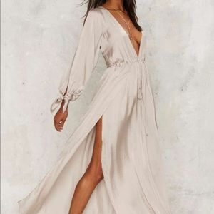 Nasty Gal deep v maxi dress
