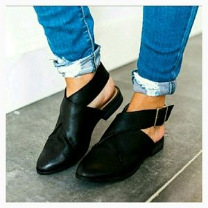 Shoes - Black Strap Flats with Buckle