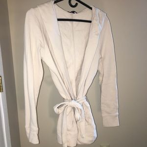Cream GAP sweatshirt/cardigan w/hood & belt: SMALL