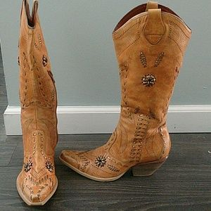 Leather Western Cowboy Boots