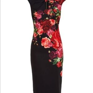 Ted Baker pencil dress, rose floral (US size 4).