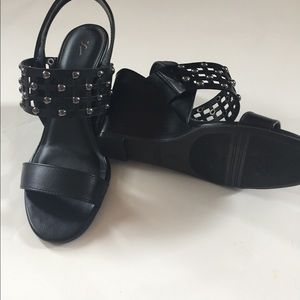 New in Box Black SASSY WEDGE with Silver Studs 7.5