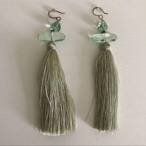 Anthropologie Seafoam Green Tassel Earrings