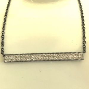 Jewelry - Silver black rhodium pave bar CZ necklace