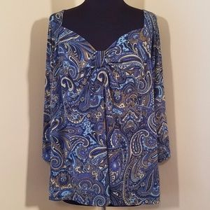 Turquoise and Blue Paisley 3/4 Sleeve Blouse, 2X