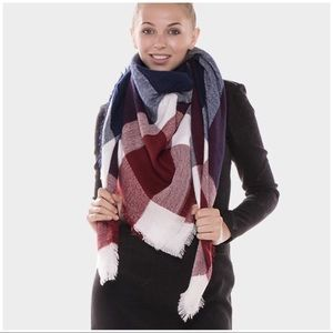 Accessories - Burgundy/Navy Plaid Blanket Scarf