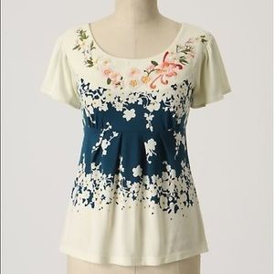 Anthropologie Deletta Embroidered Floral Top