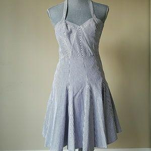 Navy halter seersucker pleated twirl dress