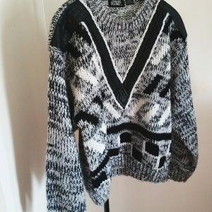 Street scenes 1990S shaker knit sweater/leather