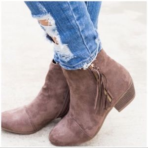 Shoes - JUST IN! Taupe Fringe Booties