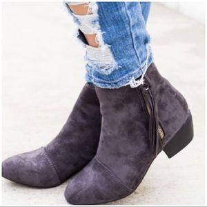 Shoes - JUST IN!! Grey Fringe Side Zip Booties
