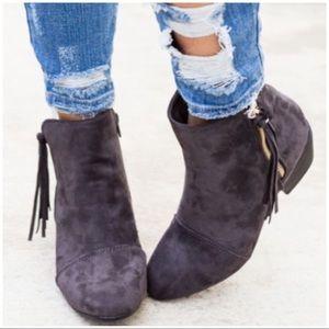 Shoes - Grey Fringe Side Zip Booties