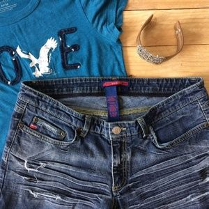 BCBG Ripped Boyfriend Jeans