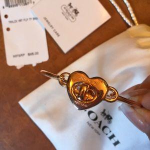 Authentic Coach Rosegold Turnlock Heart Bracelet