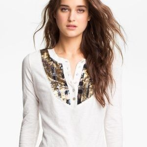 FREE PEOPLE Tiger's Eye Sequined Bib Henley