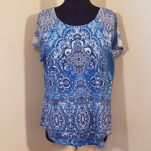 Turquoise and Navy Cap-Sleeve Blouse, XL
