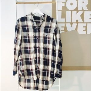 Madewell plaid button-down blouse, xs, super soft!