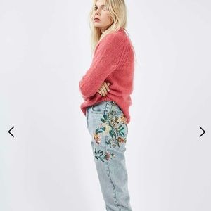 Embroidered topshop mom jeans