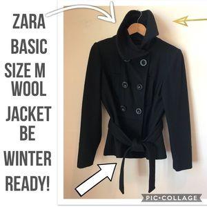 ⬇️PRICE⬇️ZARA BASIC SzM Black, Wool, Jacket-Coat