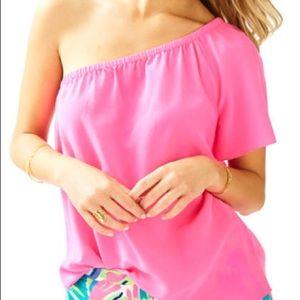 NWT Lilly Pulitzer Pink one shoulder fifer top