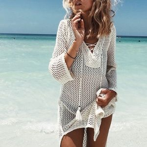 NWOT Crochet Knit Swim Coverup
