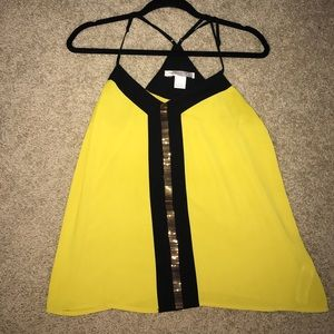 Yellow & black 🐝 tank top with gold beaded detail