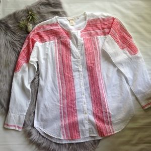 Sundance white red embroidered look shirt 8 tunic