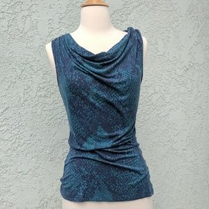 Blue & turquoise snake print top w cowl neckline