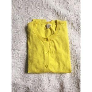 Gap yellow silk blend button down Cardigan Sweater
