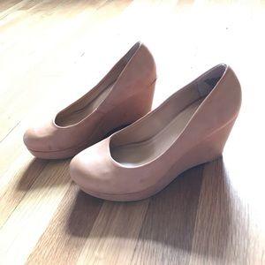 NWOT A.N.A. Wedge Heels Tan Vegan Leather