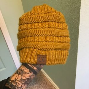 Yellow knit beanie