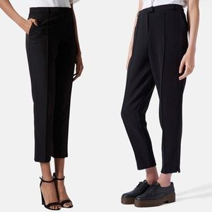 Topshop crop cigarette pintuck pants