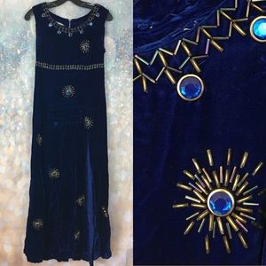 Vintage blue velvet bead sequin jewel maxi dress